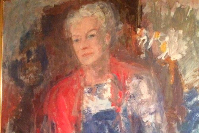 Maleri av barnehagens grunnlegger Laila Roll Schjelderup. Malt av Agnes Hiorth i 1965.