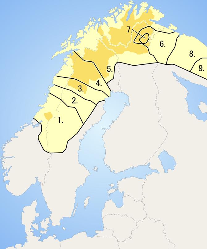 De ni samiske språkområdene.
