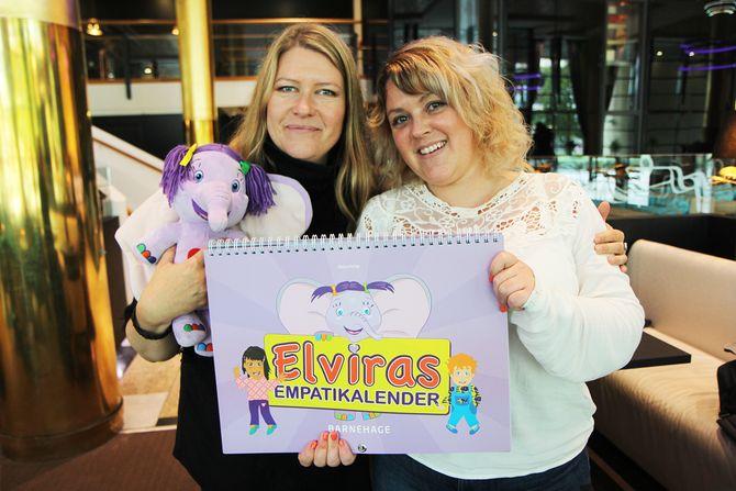 Psykoterapeut Lene Kristina Larsen og Tonje Gry Carlsson (og superheltelefanten Elvira). Sammen har de startet Elvira forlag og lanserte i vår Elvira empatikalender for bruk i barnehagen.