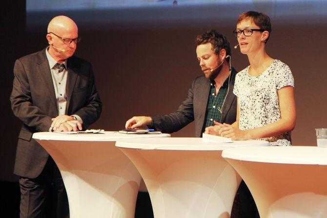Debattleder Terje Svabø, kunnskapsminister Torbjørn Røe Isaksen (H) og Anette Trettebergstuen (Ap) på barnehagedebatten under Arendalsuka.