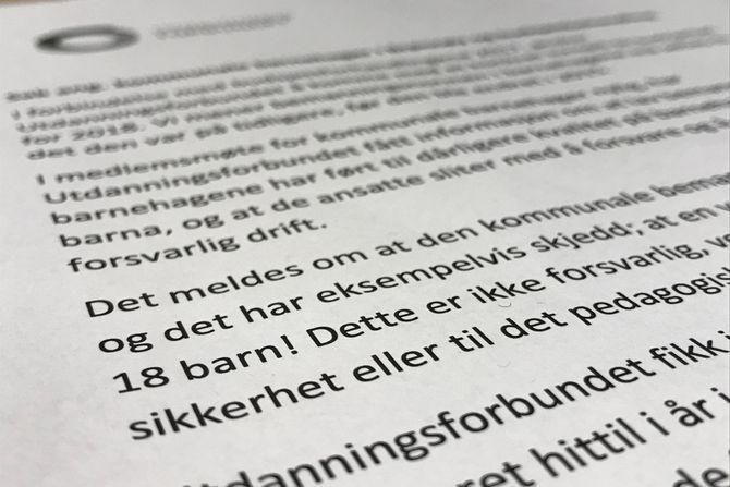 27. november skrev Utdanningsforbundet i Brønnøy et brev til politikerne i kommunen om at de ansatte i de kommunale barnehagene sliter med å opprettholde en forsvarlig drift.