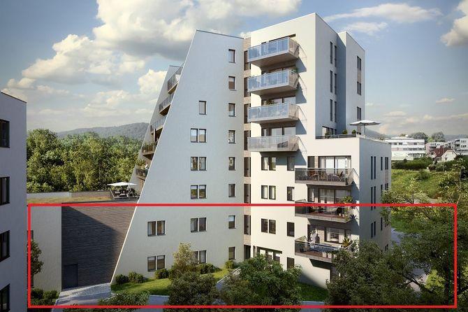 Barnehagen i Nybyen er tenkt inn i de to nederste etasjene her. Uteområdet er planlagt på motsatt side av bygningen.