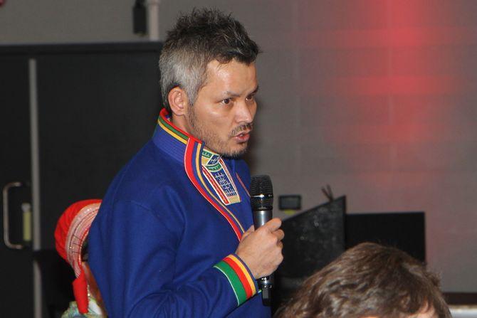 Rådsmedlem i Sametinget Lars Filip Paulsen (H). Her deltar han i debatten under FUBs foreldrekonferanse under Tråante 2017.