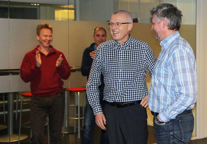 Jubler. Nyheten om seieren mot Nesodden kommune ble svært godt mottatt av administrerende direktør i PBL, Arild M. Olsen (t.v) og konsernadvokat Hans-Are Nyheim, samt resten av PBL.