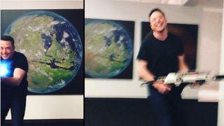 En rekke bilder av Elon Musk viser fram en prototype av flammekasteren sin.