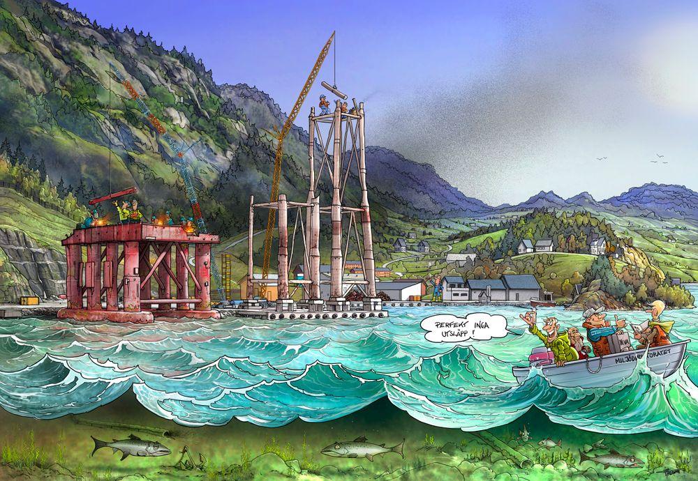 Jakob Hatteland har fått tegner Lars Ahlberg til å illustrere hans frustrasjon over at plattformopphugging får finne sted med utslipp til luft og vann.