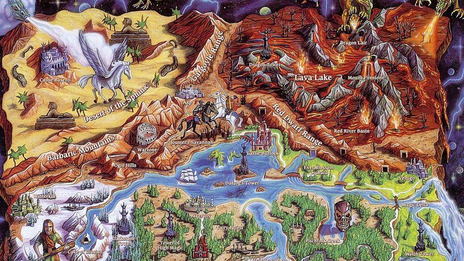 Et kart fra Might and Magic, brukt som illustrasjon tidlig i boken.