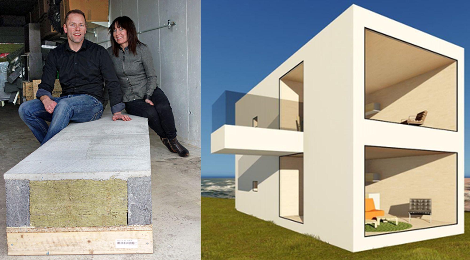 Jonny Vassetrem og Nina Nordmark har brukt all fritid de siste årene på å utvikle tre nye byggpatenter. I løpet av året håper de å få bygget det første Eco-bo-huset i Ålesundområdet.