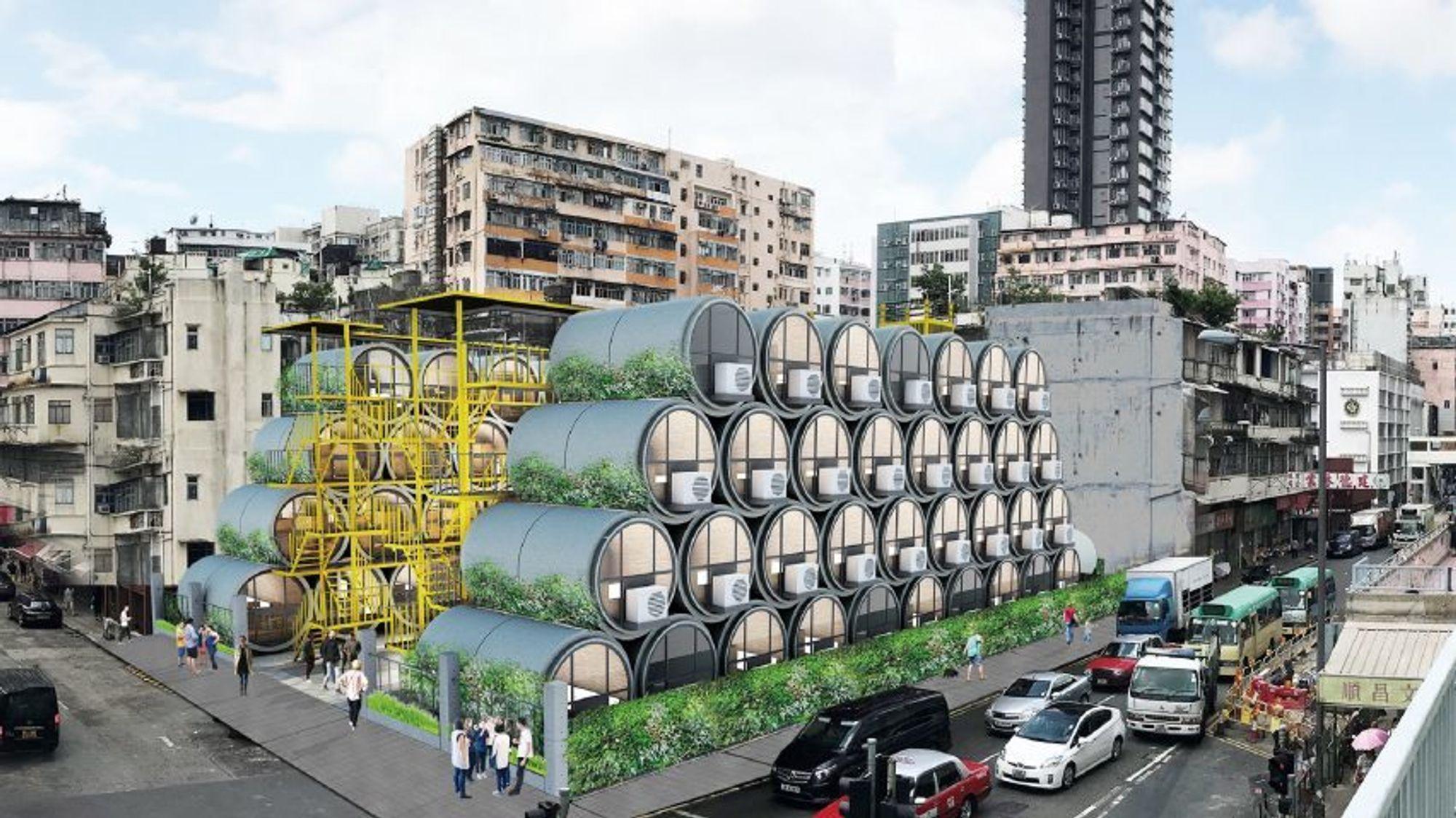 Mikroleiligheter i betongrør skal være med på å løse boligmangelen i Hong Kong.