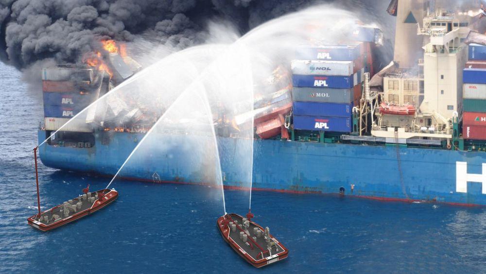 Illustrasjon viser hvordan fjernstyrte brannbåter kan komme tett på. En vannkanon festet på toppen av en lang mast sørger for bedre angrepsvinkel.
