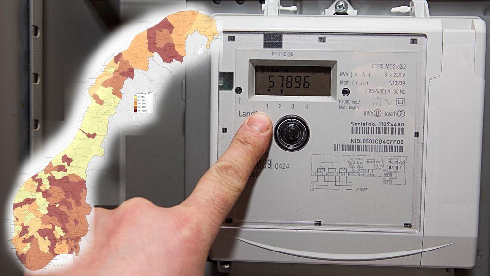 50 prosent av alle målepunktene har nå fått smarte strømmålere. Foto: Paul Kleiven / NTB scanpix. Kart: NVE.