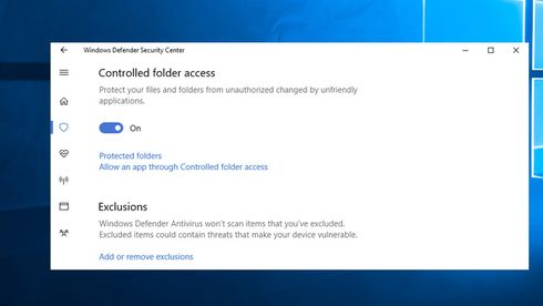 Aktiveringen av Controlled Folder Access i Windows 10.