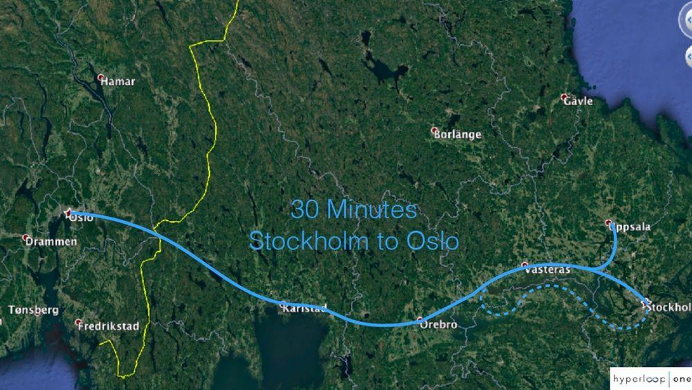 Mårten Fröjdö i FS Link viste frem dette bilde over en mulig hyperloop-trasé mellom Oslo og Stockholm.