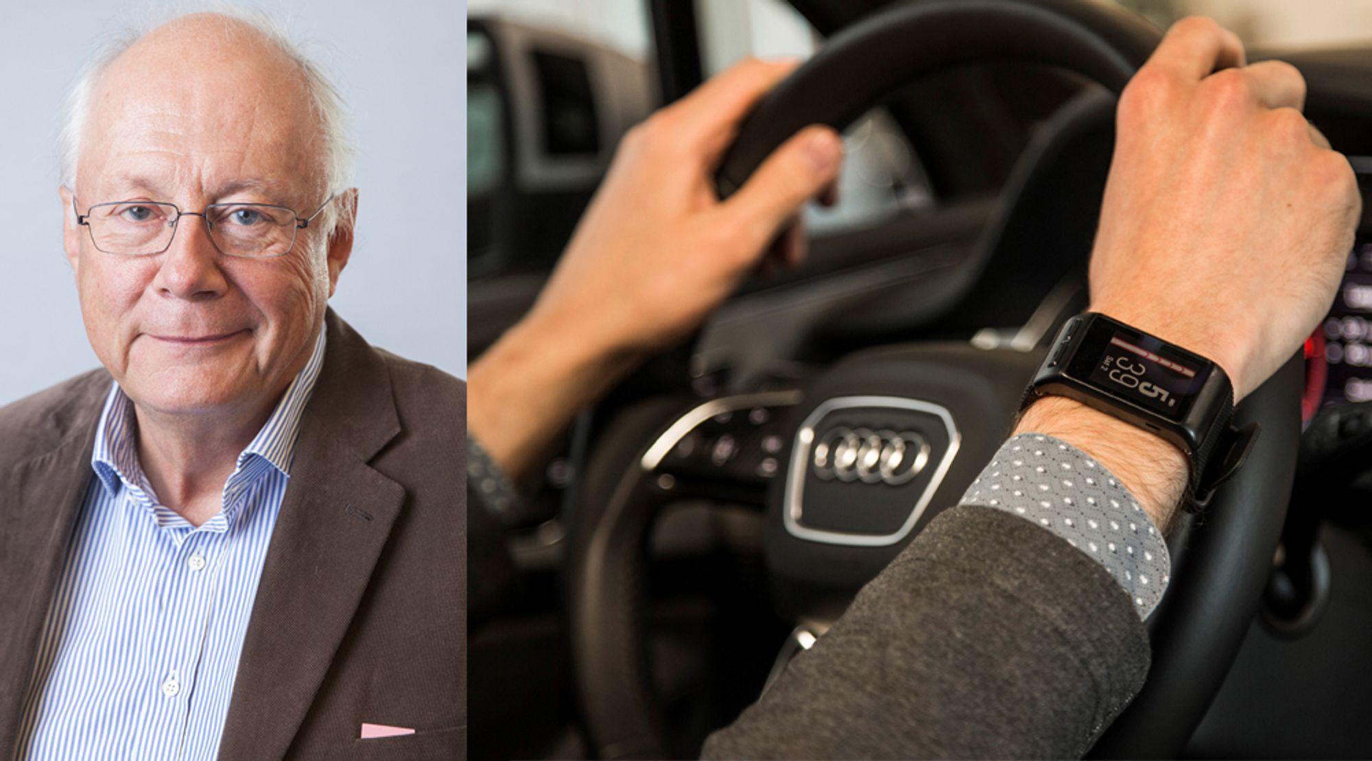 Et fitnessband leser av puls og kroppstemperatur hos føreren. Formålet med Audis program er å avlese stressnivået til sjåføren og for eksempel tilby pusteøvelser.