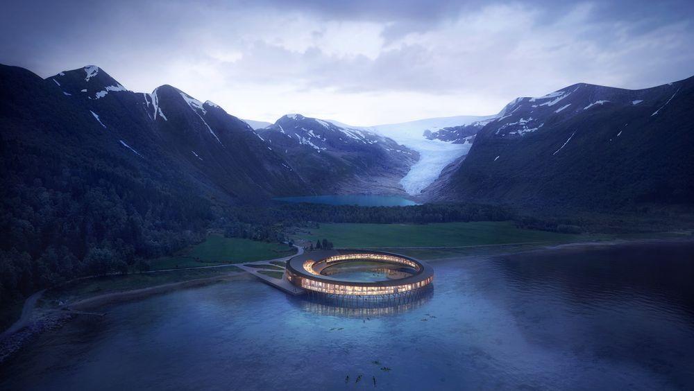 Solcellepaneler på taket vil forsyne hotellet med mer energi enn det som behøves til drift.