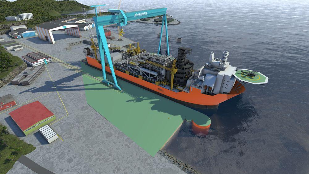 Slik vil den nye dypvannskaien på Kværner Stord se ut. Den vil gjøre at de kan ta imot større prosjekter, i tillegg til flere prosjekter samtidig - på en mer kostnadseffektiv måte.  Johan Sverdrup-skipet vil være det første prosjektet på den nye kaien.