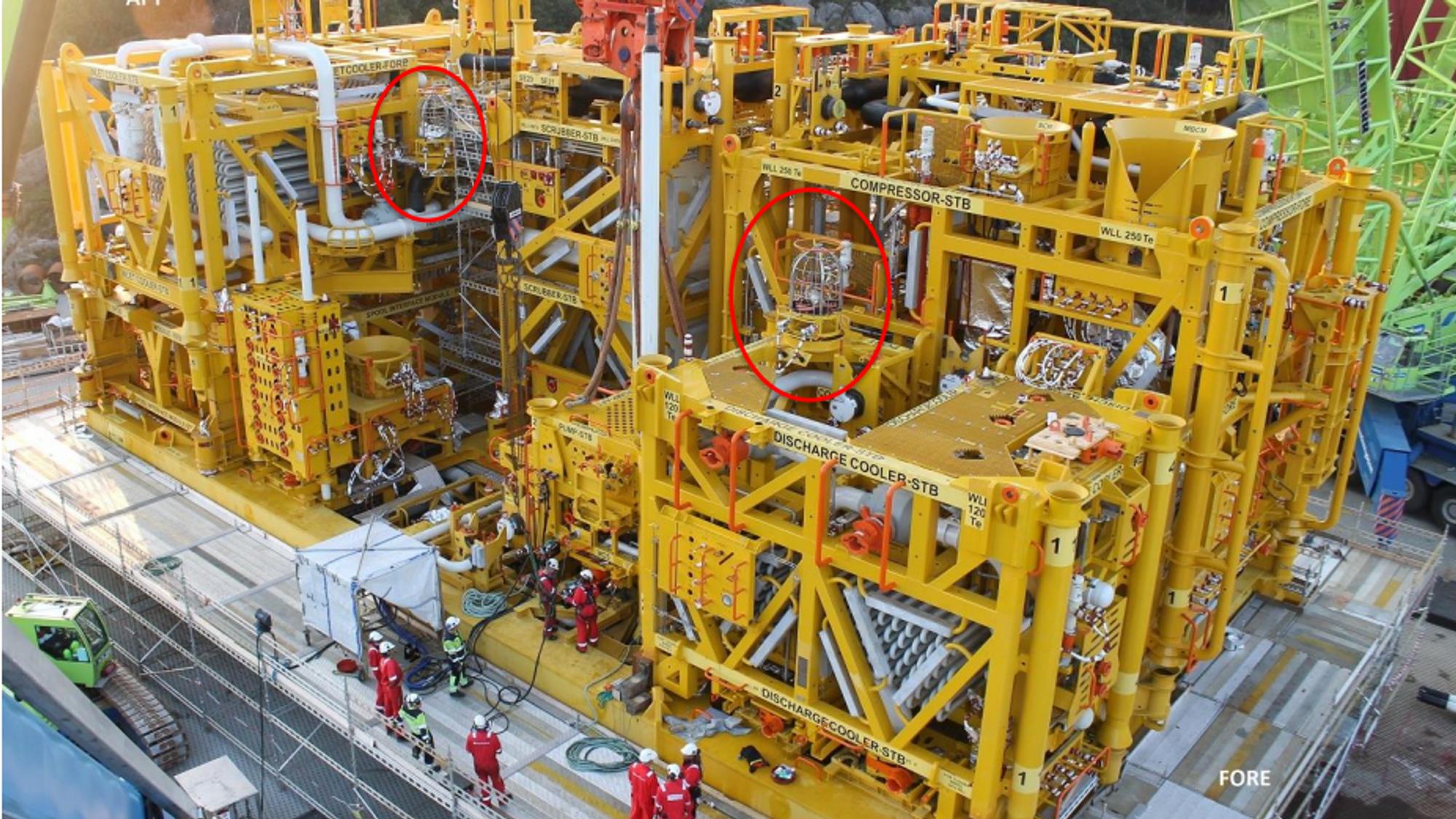 To lytteposter ble integrert på Aasgard Subsea Compressor System. Se innringet. Etter oljeprisfallet må leverandøren jobbe hardt for å få innpass.