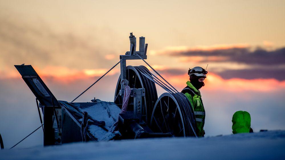 Linjestrekking i Haraheia vindpark som er en del av den store Fosen vindpark. Realiseringen av denne og flere andre store vindparker i 2018 vil doble norsk vindkraft.