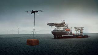 Droner skal erstatte kranløft mellom fartøy og oljeplattform