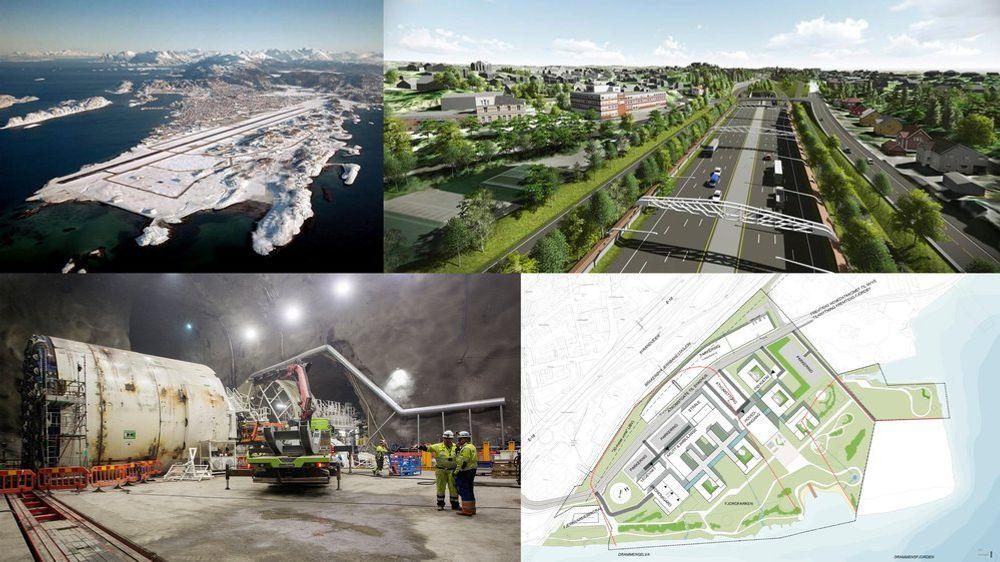Ny flyplass i Bodø, nytt sykehus i Drammen, Follotunnelen og ny E18 på vestsiden av Oslo kommer høyt opp på listen over de største bygge- og anleggsprosjektene i Norge. (Illustrasjonsbilde: Avinor/Helse Sør-Øst/Statens vegvesen/Mari Gisvold Garathun)