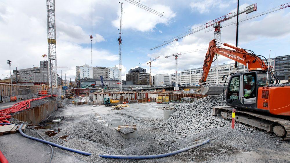 Ikke-kvotepliktig sektor kan redusere store klimautslipp ved å gå over til strøm. Det gjelder blant andre byggnæringen. Her fra anleggsarbeid i Oslo sentrum.