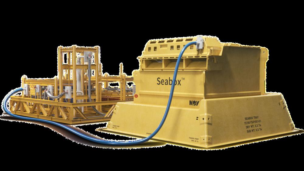 Slik skal systemet for rensing av sjøvann settes sammen. Selve renseanlegget til høyre, mens tilleggsmodulene for å fjerne salt og sulfater står til venstre.