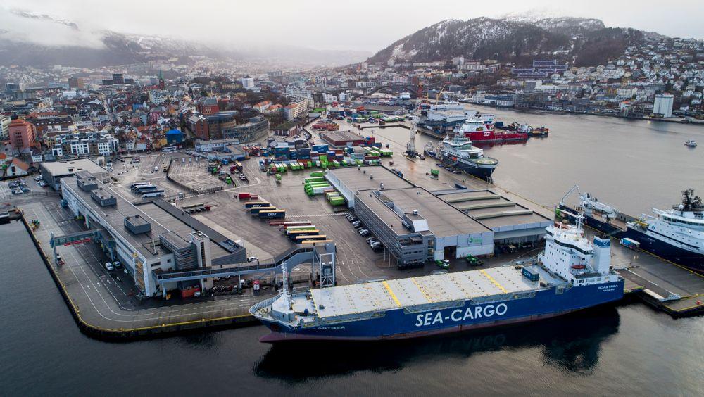 Dronebilde av Bergen havn. Foto: Tore Meek / NTB scanpix