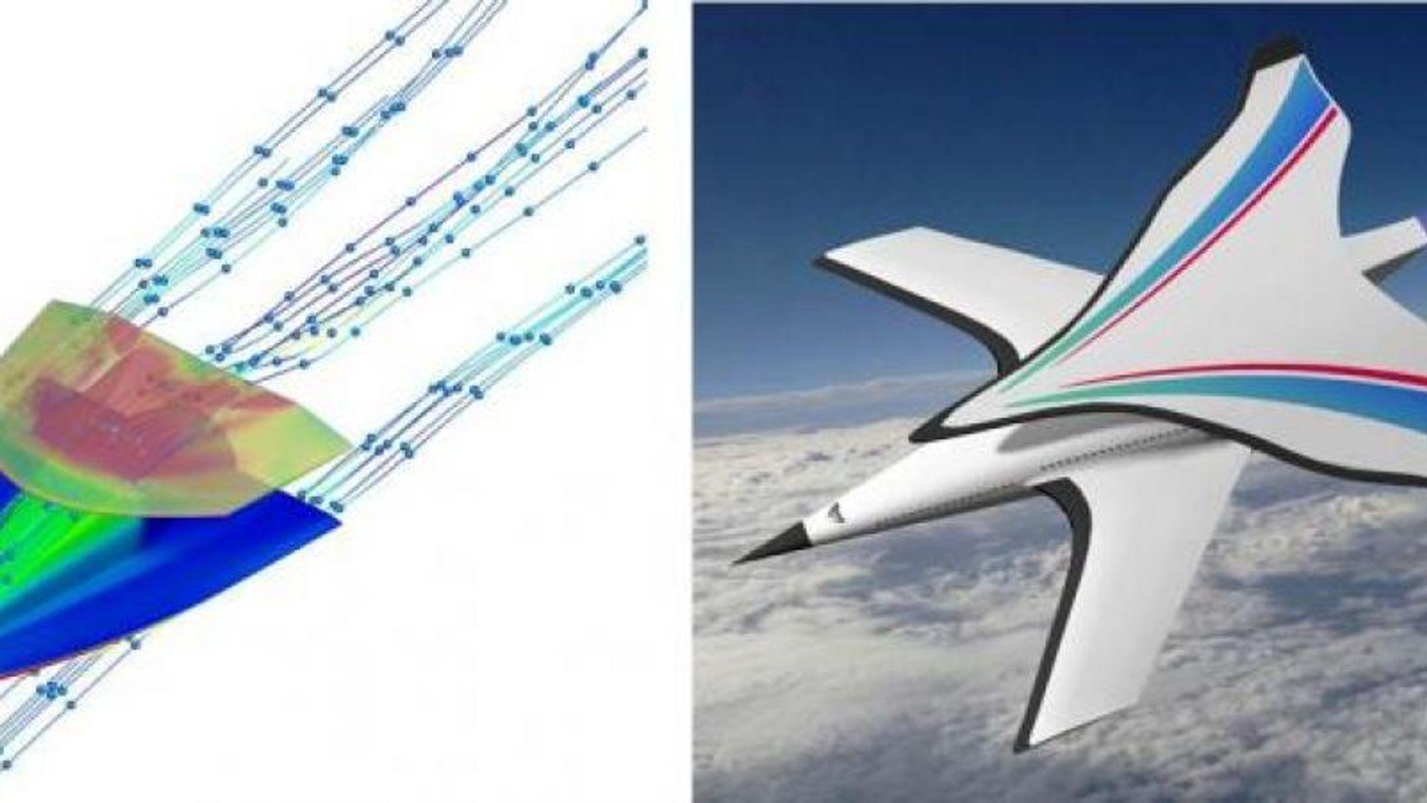 Selv om et ekstra vingepar øker luftmotstanden, vil den økte oppdriften forbedre de aerodynamiske egenskapene for hypersoniske fly, ifølge nye kinesiske forskningsresultater. Bildet til venstre viser forskernes modell, mens bildet til høyre er en kunstners videre bearbeiding av konseptet.
