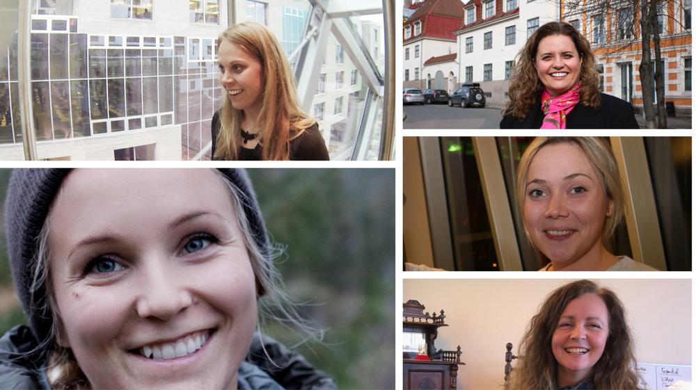Tech-kvinner 2018: Vinnere i kategorien gründere, øverst fra venstre og med klokka: Ingrid Oline Ødegaard Appear.in,  Laila Danielsen, Elliptic Labs, Karen Dolva, NoIsolation, Kristil Erle Håland, JocaCare og Christine Spiten, BluEye Robotics