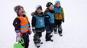 Barn fra Espira Brådalsfjellet barnehage. Fra venstre Jenny, Nikolai, William August og Ulrik.