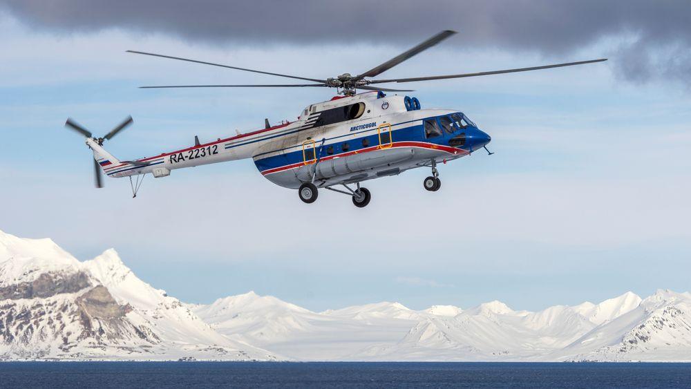 Det var dette Mi-8AMT-helikopteret som havarerte på Svalbard 26. oktober 2017. Alle åtte om bord, tre besetningsmedlemmer og fem passasjerer, omkom.