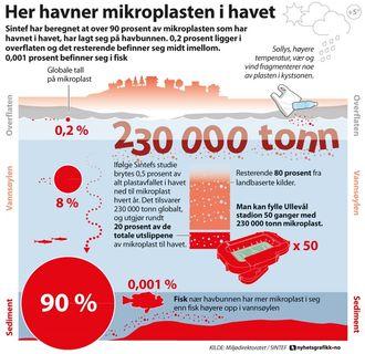 Grafikk over hvor mikroplasten i havet finnes.