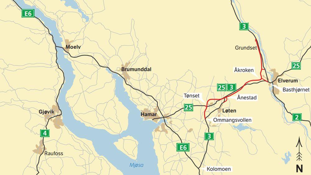 Mellom Tønset i Løten og Basthjørnet i Elverum skal det bygges firefeltsvei. De resterende 10,5 kilometerne bygges som tofeltsvei med midtrekkverk og forbikjøringsfelt.