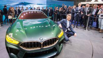 BMW-sjef Harald Krüger under lanseringen av konseptbilen BMW M8 Gran Coupé under bilmessen i Genève.