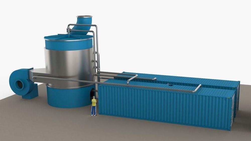 Modell av det kompakte CO 2 -fangstanlegget til 3C.