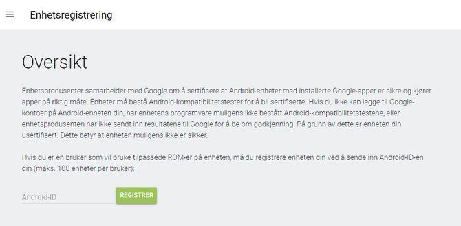 Skjemaet hvor brukere kan hviteliste ikke-sertifiserte Android-enheter.