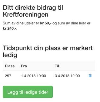 Skjermbilde av garasjedeling.no, oversikt over brukerens totale bidrag til Kreftforeningen ved leie og utleie.