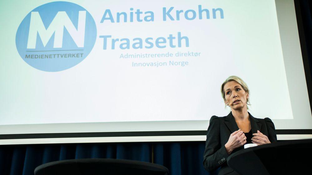 Innovasjon Norges Anita Krohn Traaseth er i hardt vær - en oppsplitting av Innovasjon Norge vil kunne gjøre både oljenæringen, de grønne satsingene og reiselivsnæringen mer tilfreds, skriver TUs Jan M. Moberg.