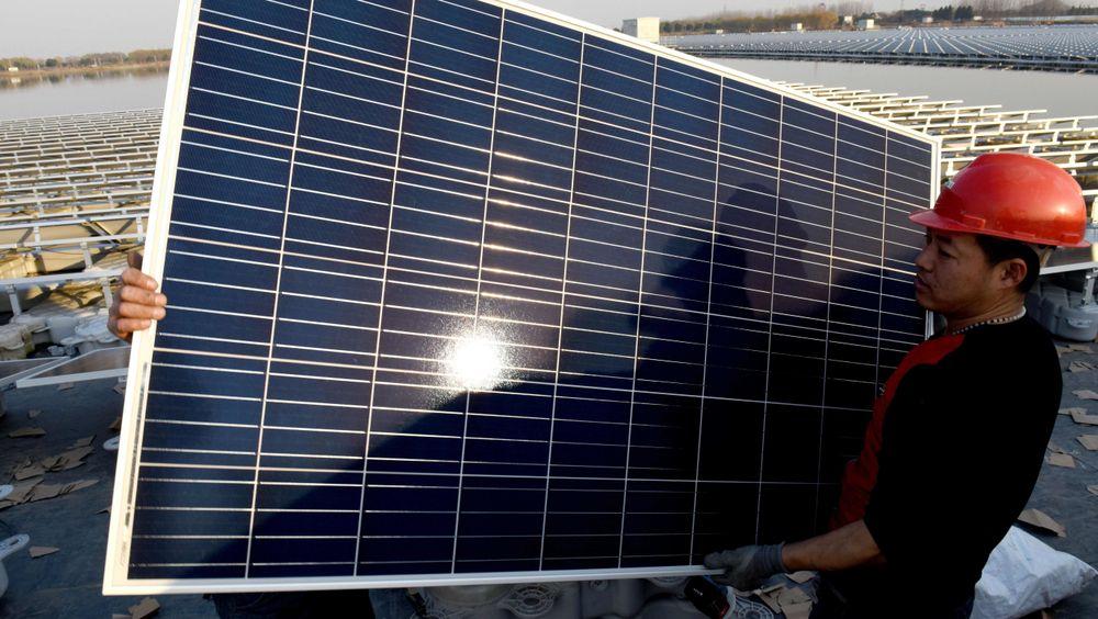 Kina installerte mest solkraft i 2017. Her fra et flytende solkraftverk i Anhui-provinsen.