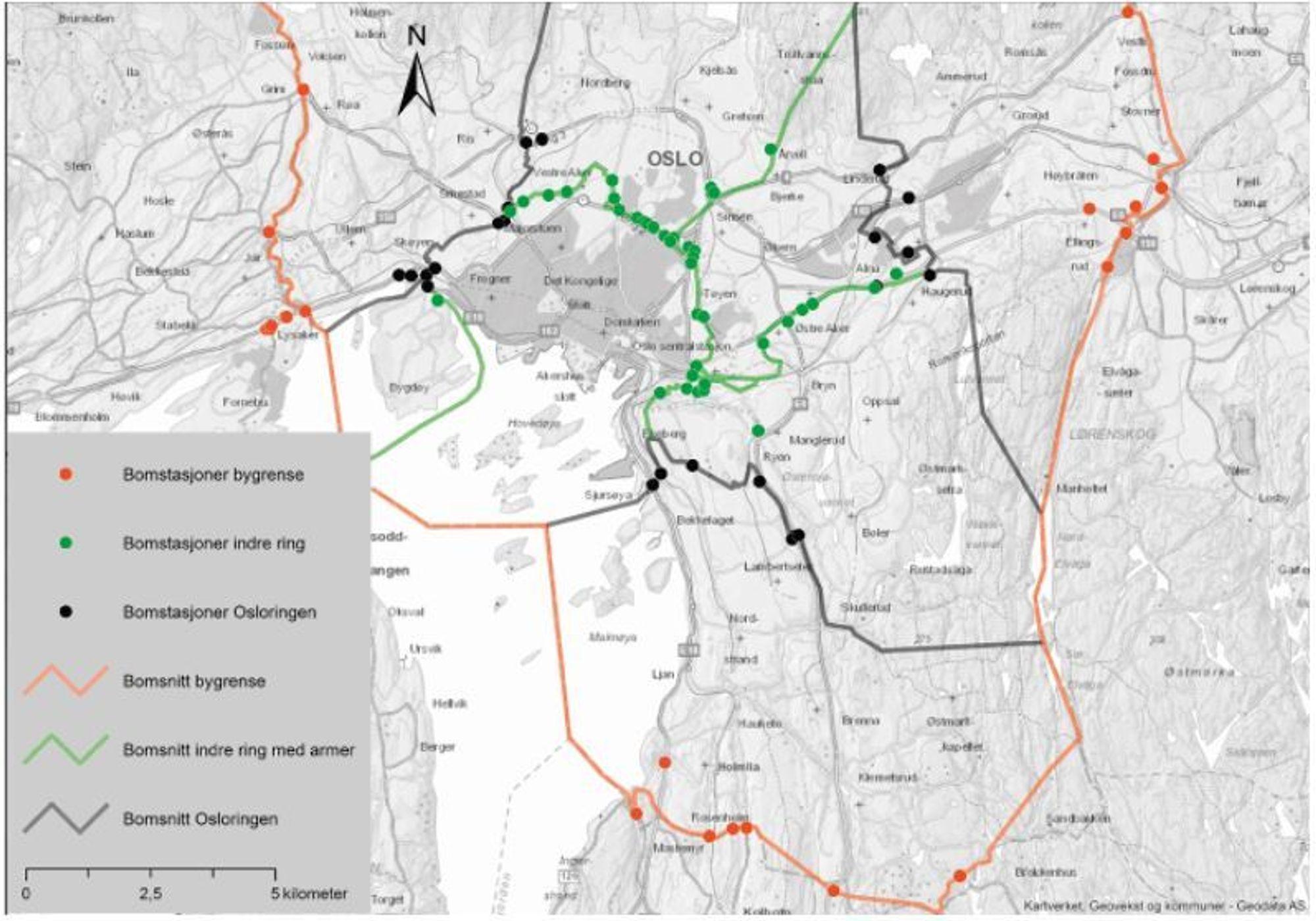 bomstasjoner oslo kart 29 bomstasjoner blir til 82 i Oslo og Akershus   Veier24.no bomstasjoner oslo kart
