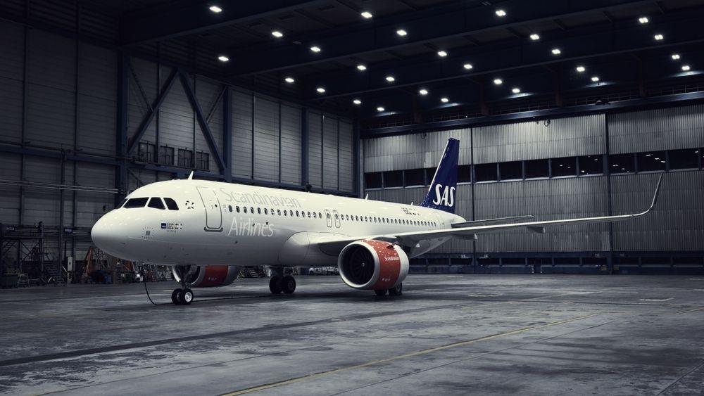 Et av SAS' Airbus A320 Neo - om et år starter leveransen av ytterligere 50 fly.