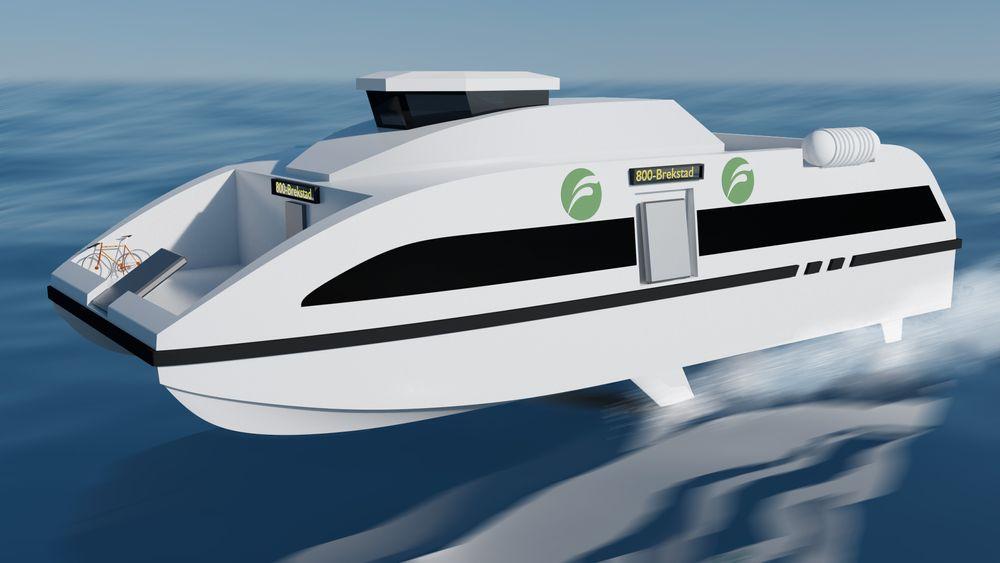 Trondheim-Brekstad i over 30 knop uten utslipp? Fem konsortier konkurrerer om å klare det. en av dem er Flyign Foil og NTNU.