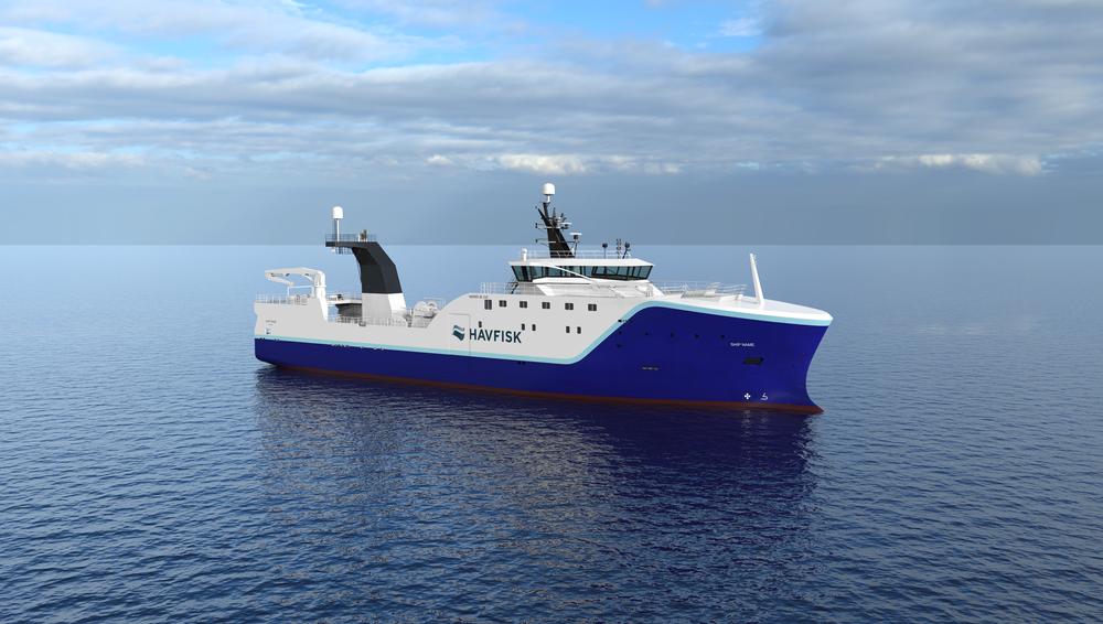 Vard skal i 2020 levere det som blir verdens største hybride fiskefartøy til Havfisk. Hekktråleren blir 80 meter lang, 17 meter bred og innfrysingskapasitet på 80 tonn i døgnet. Foto: Vard