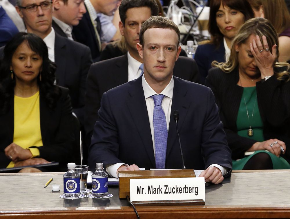 Mark Zuckerberg under en høring i Senatet 10. april 2018.
