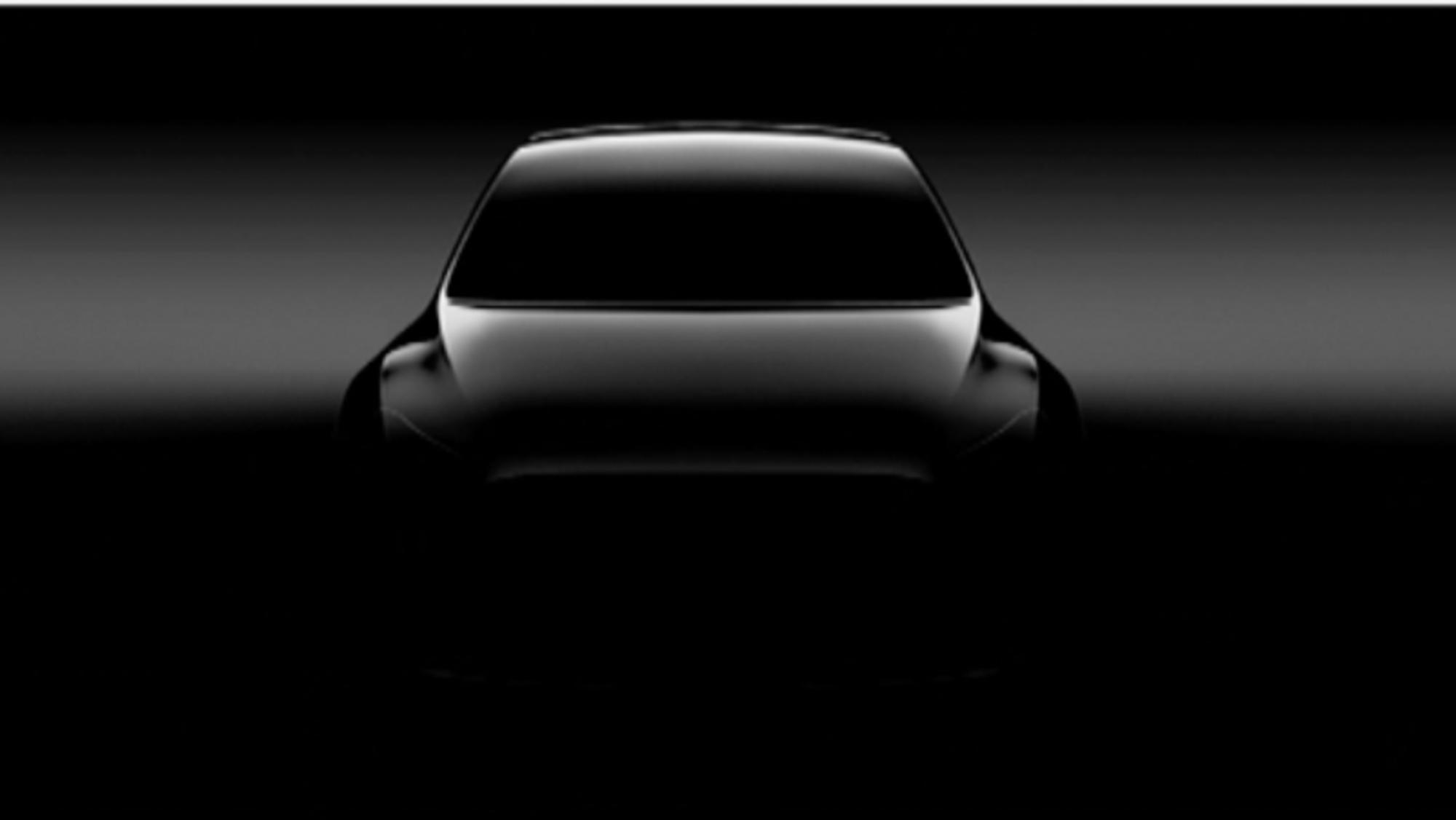 En sniktitt på Model Y. Tesla slapp dette bildet i juni 2017.