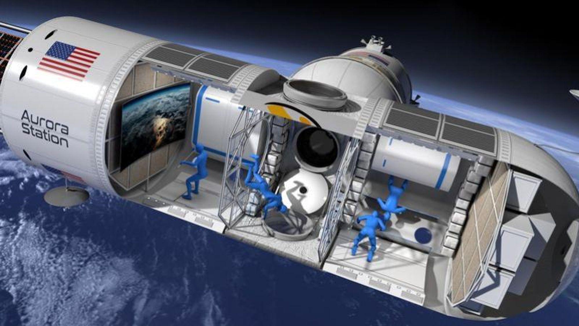 Slik ser man for seg at romstasjonen kommer til å se ut på innsiden.Illustrasjon: Orion Span Inc.