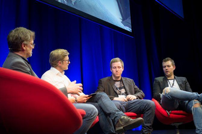 Dokumentarskaper Dan Josefsson, SKUP-programleder Svein Tore Bergestuen,  Robin Dahlén og Christian Karlsson på SKUP-konferansen 2018.