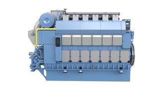 Bergen Engines nye gassmotor B33:45L6PG på 3,6 MW. Hurtigruten skal ha to slike i hvert av hurtigruteskipene som skal trafikkere Kystruten Bergen-Kirkenes fra 2021.