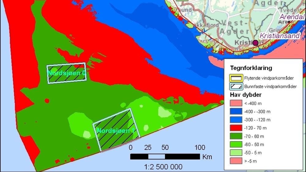 Bildet viser dybdeprofilen for feltene Sørlige Nordsjø I og II. Selv om områdene her er markert som områder for bunnfaste vindparker, så mener NVE at områdene er aktuelle for både flytende og bunnfaste konsepter, bortsett fra Hywind.