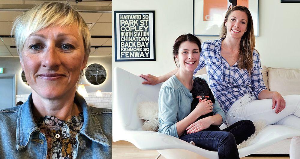 Fra venstre: Hjørdis Vik, Innovasjon Norge,og Kreakid-gründere Mira Kahn og Alexandra Bodd.